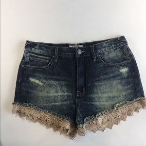 Free People jeans shorts with lace trim size28 New